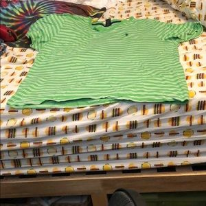 Green and white striped Ralph Lauren polo t-shirt